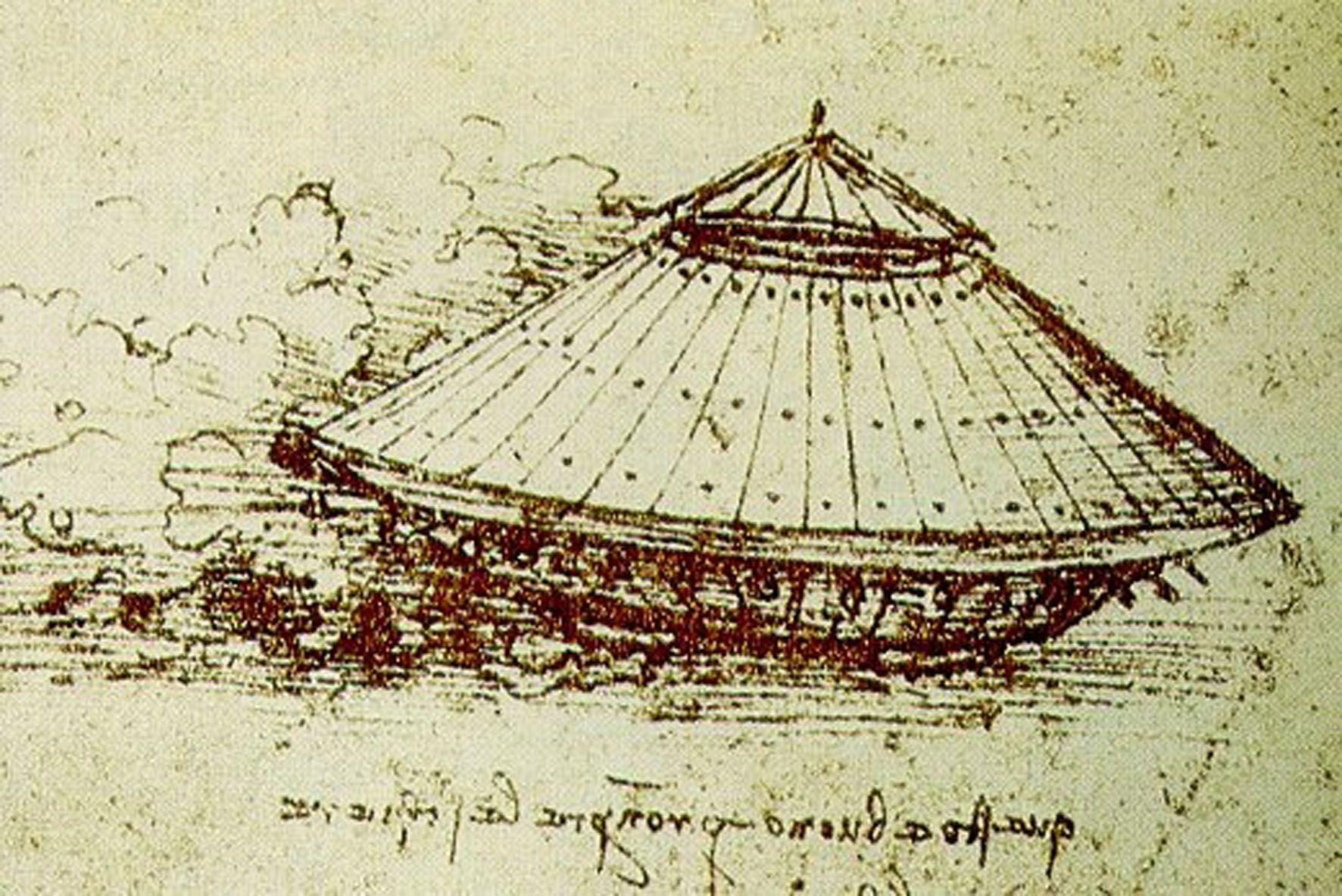 Boceto de tanque de combate diseñado por Leonardo Da Vinci