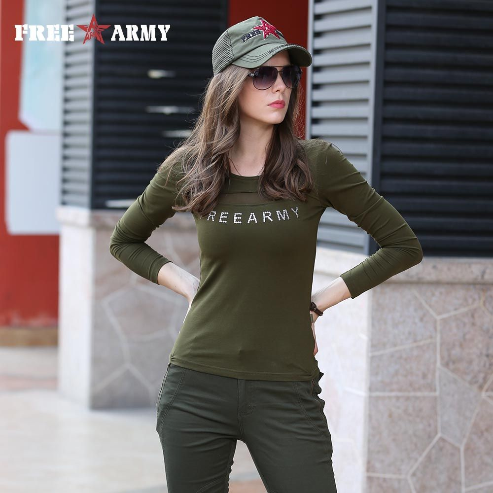 brand tee shirt women military fashion shirt casual t shirt femme o neck tshirt  army green tee shirts free shipping GS-8512A 74bcc829b5