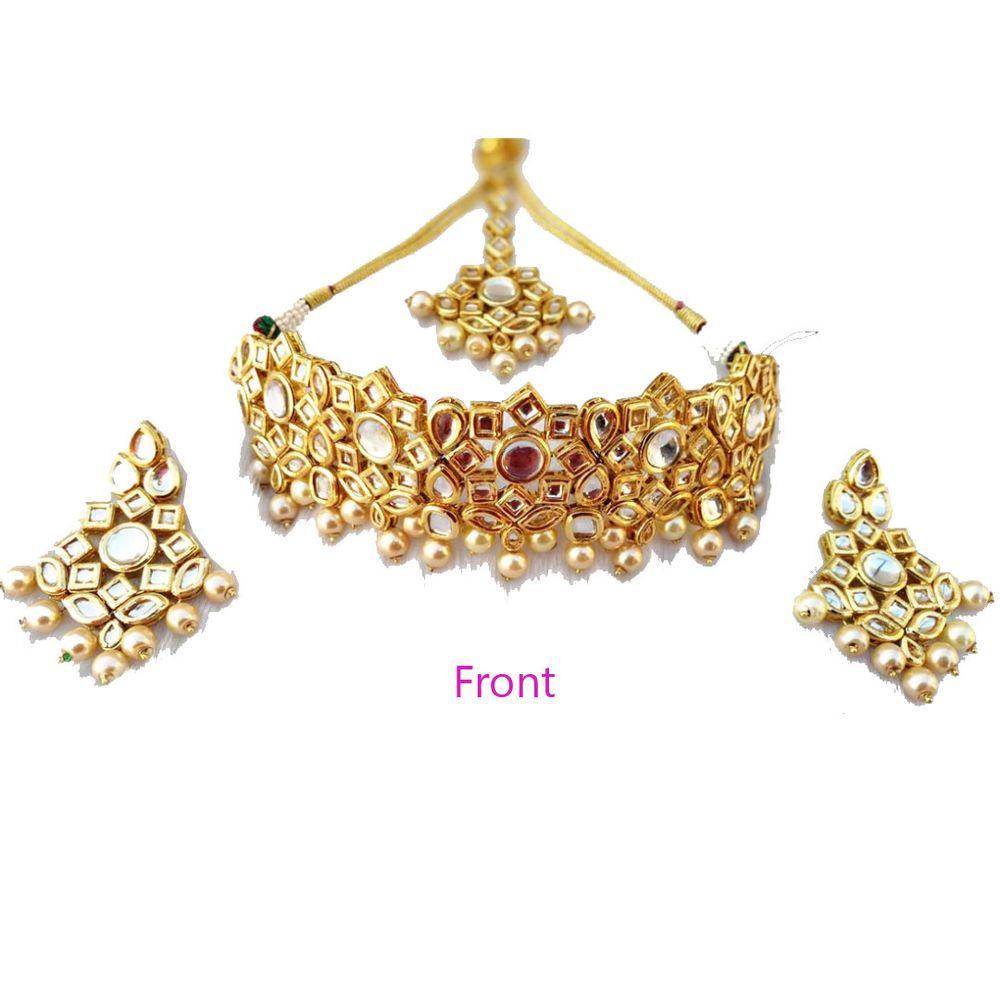 e6dbdbe59e4 Kundan Meena Ethnic Jewelry Cute Choker Gold Plated Necklace Drop Earrings  Sets #Handmade
