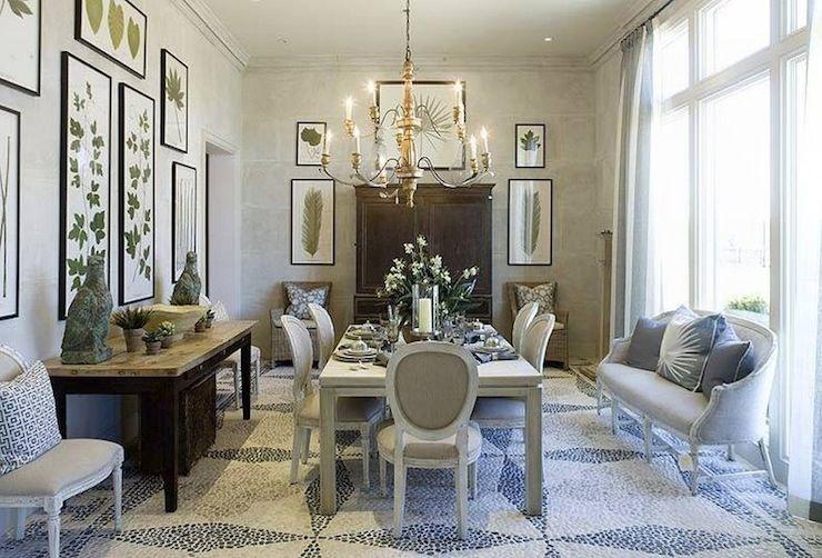 Amazing Mosaic White Blue Tiled Floors Botanical Photo Gallery Dining Area With French