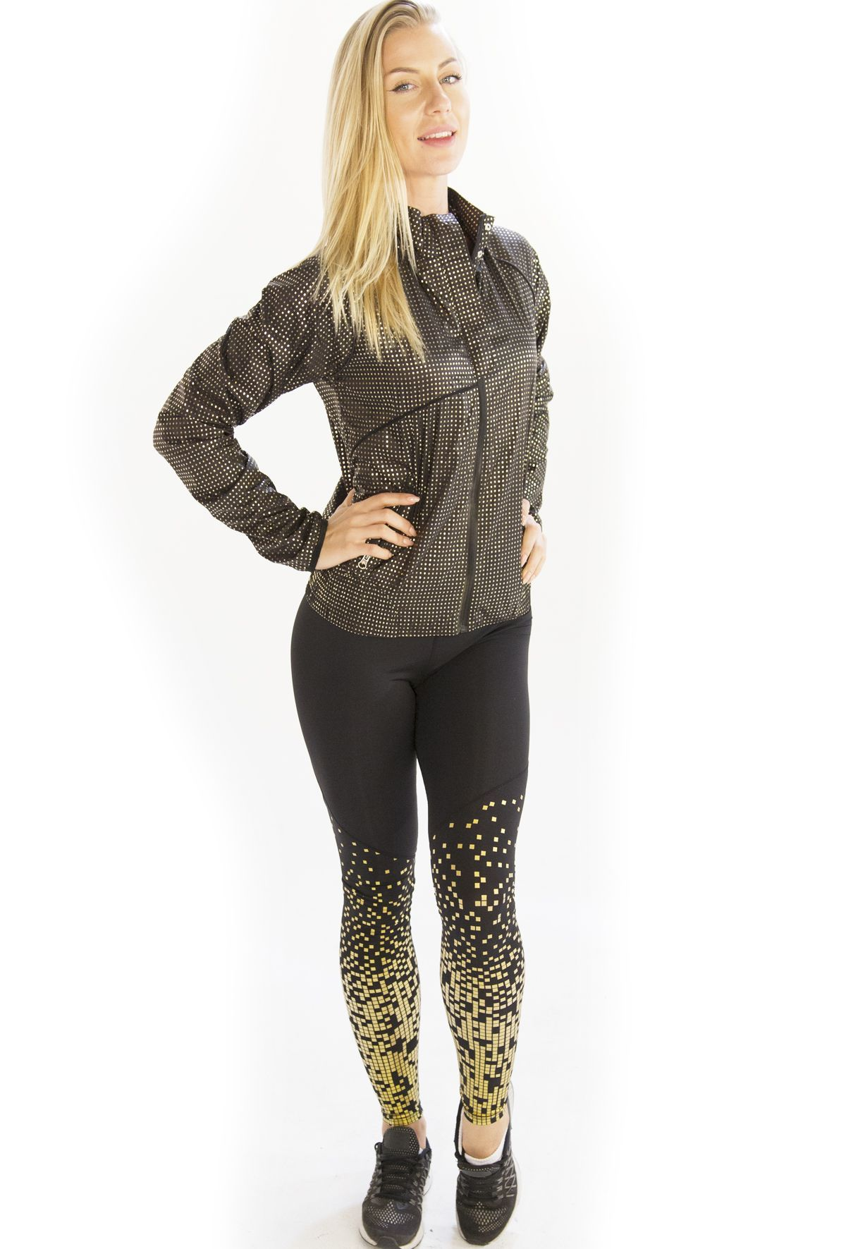Check out running clothing for black gold pixel print