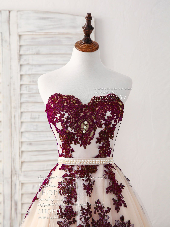 Burgundy sweetheart tulle long prom dress burgundy evening dress