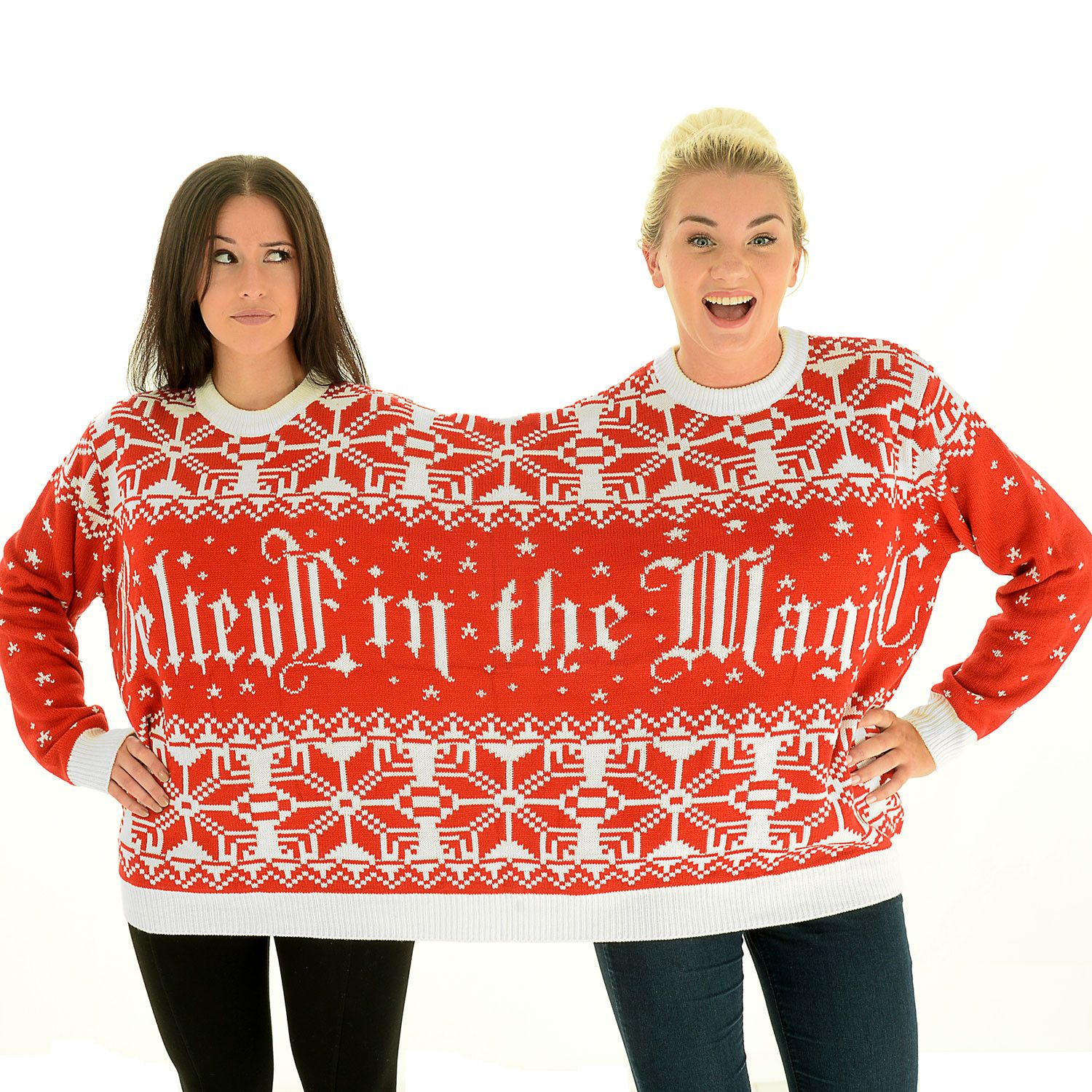 2 Person Christmas Sweater.Believe In The Magic Bff Twosie 2 Person Christmas Sweater
