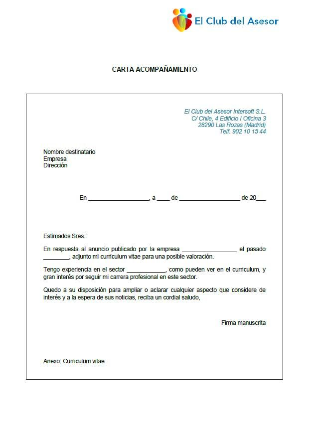 Modelo carta de acompañamiento al Curriculum Vitae | Documentos de ...