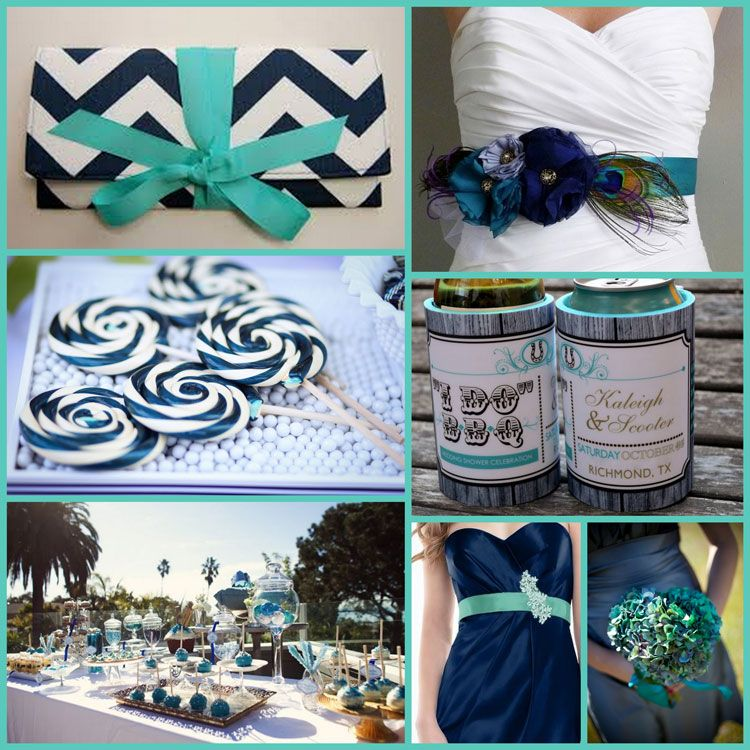 Wedding Color Scheme And Ideas For Your Koozie Favors In Vibrant Teal Navy Blue Bright White