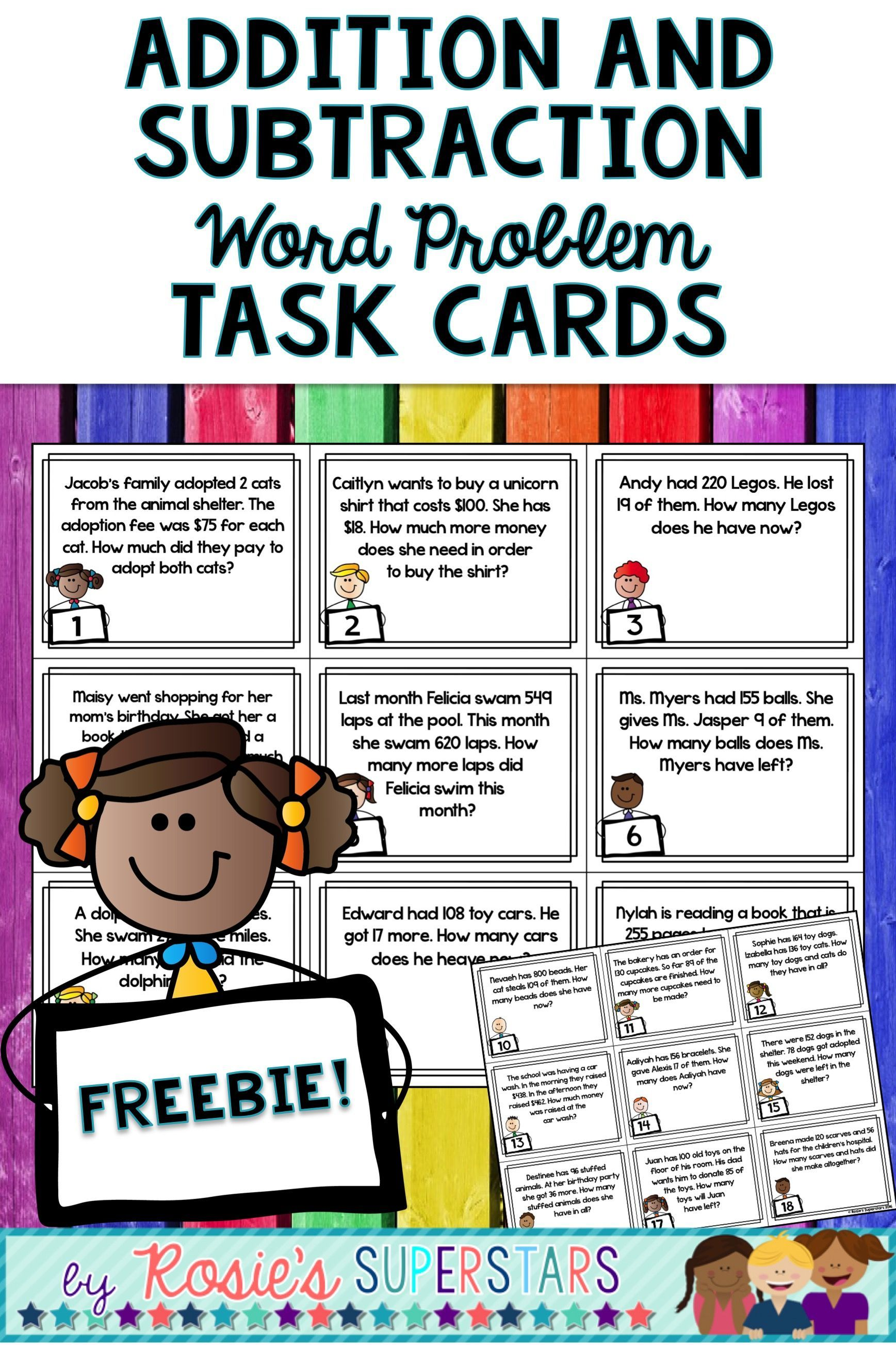 Freebie Word Problems For Addition And Subtraction Task
