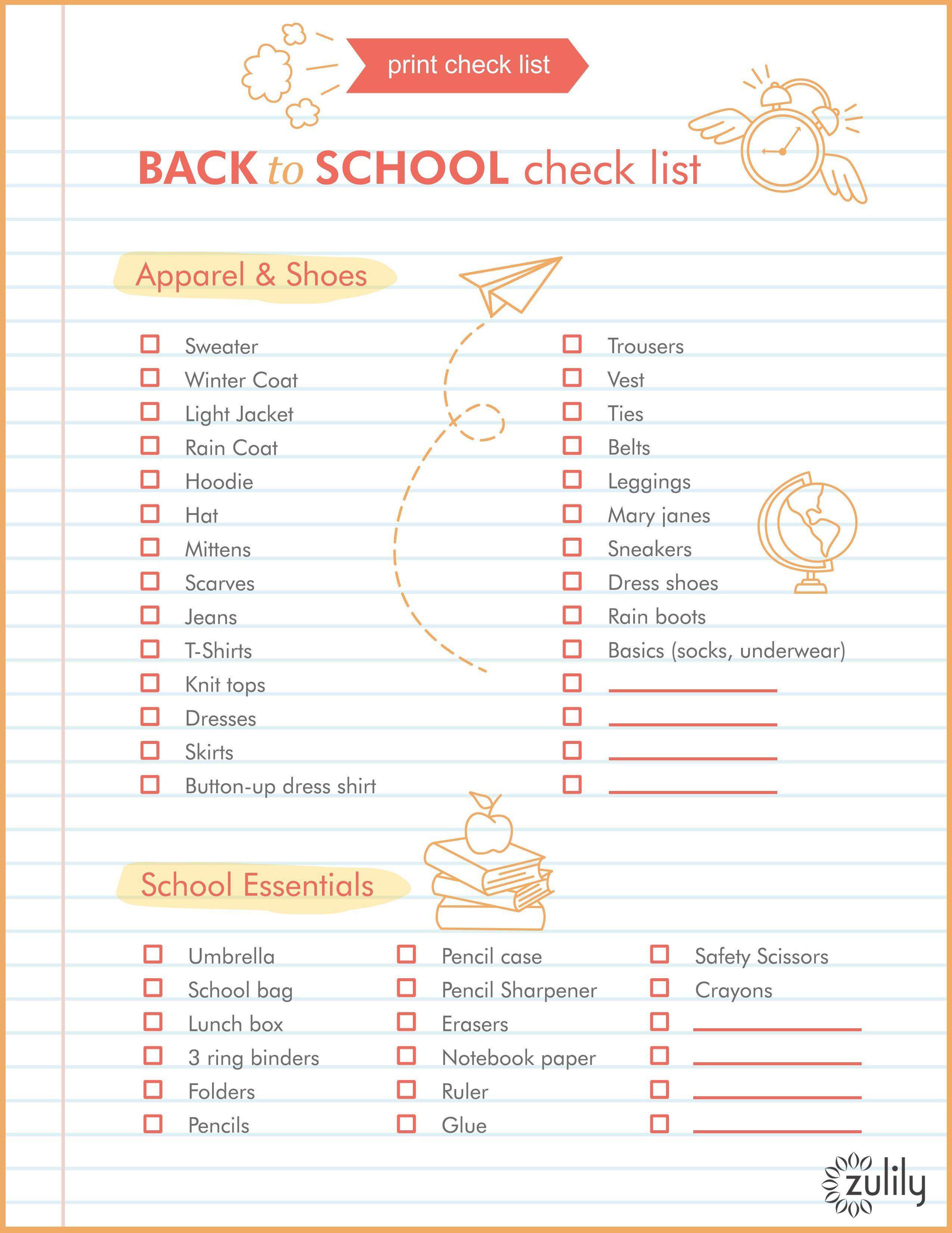 Printable Back to School Checklist | School checklist, School and ...
