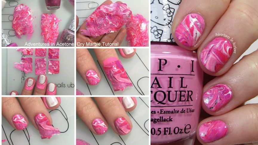 Dry Marble Nail Art With Opi Hello Kitty Tutorial Beauty And The