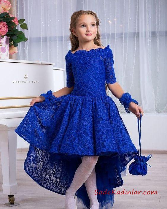 2019 Cocuk Abiye Modelleri Saks Mavi On Kisa Arka Uzun Etekli Yetim Kol Dantel The Dress Bebek Elbisesi Kadin Elbiseleri