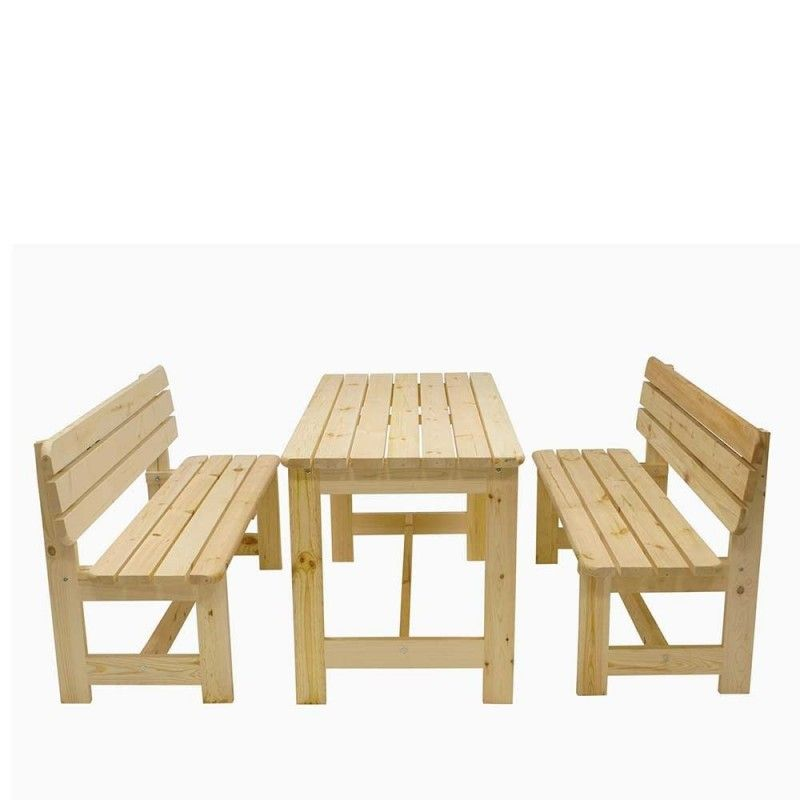 Holz Tisch 2 Banke Aus Kiefer Massivholz Unbehandelt Actalando 3 Teilig Holzbank Garten Tisch Holz