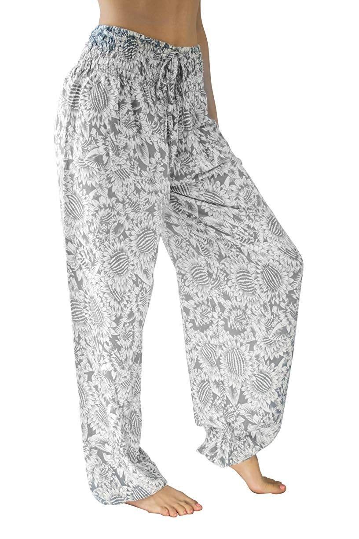 Women's XL Yoga Boho Pants - Elastic at Waist & Ankle (Scrunched Bottom US W 12-16) - Sunshine on My...
