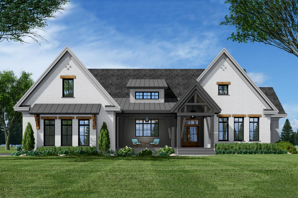 Plan 14686rk 3 Bed New American Farmhouse Plan With Corner Covered Porch In Back In 2020 Farmhouse Style House Modern Farmhouse Plans Farmhouse Style House Plans