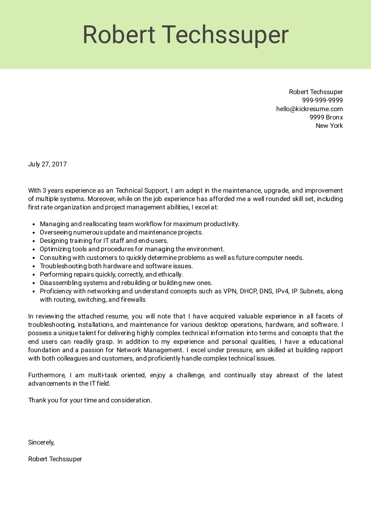 Cover Letter Sample Without Experience