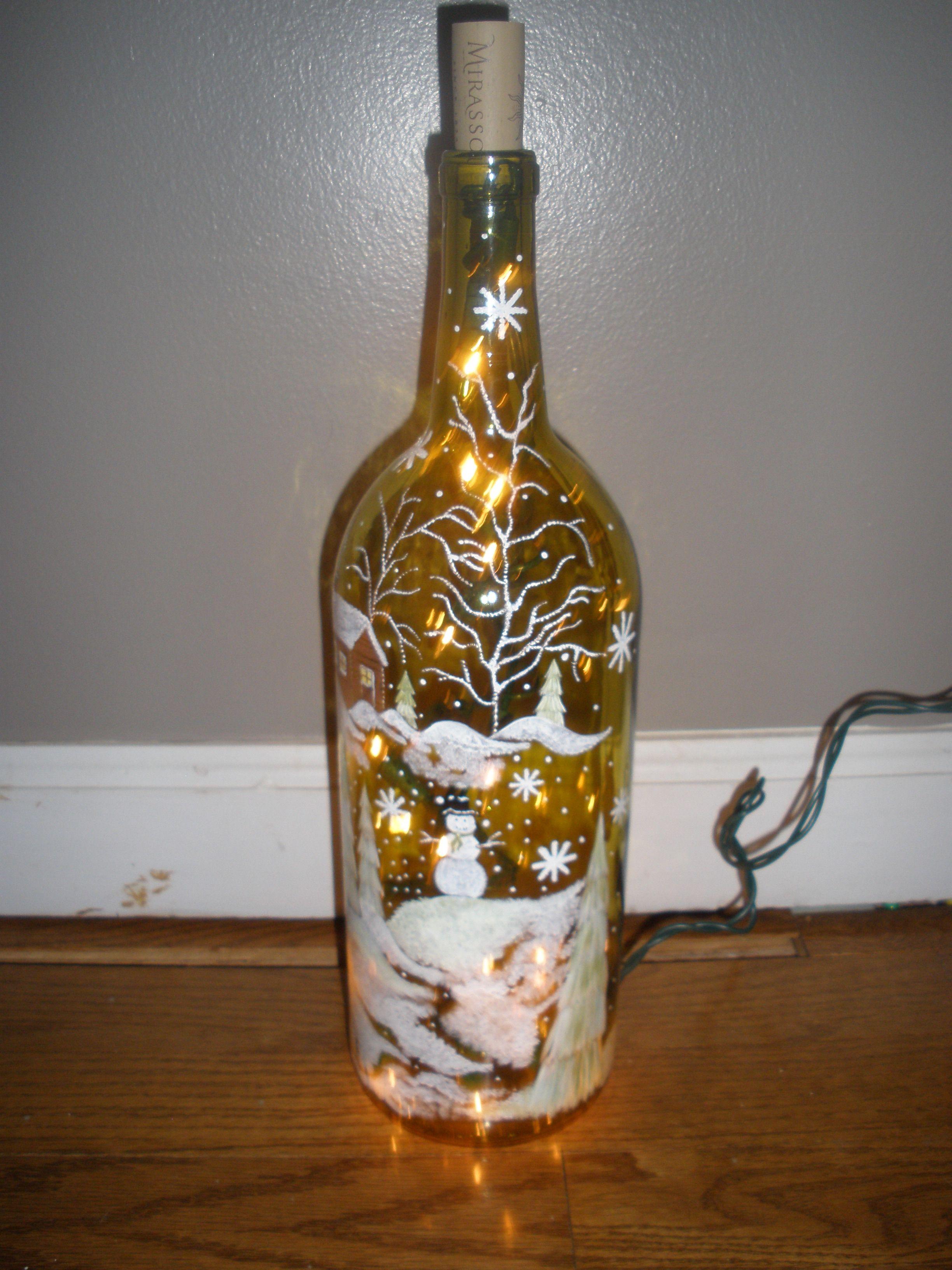 Winter scene wine bottle light crafts pinterest for Lighted wine bottle craft