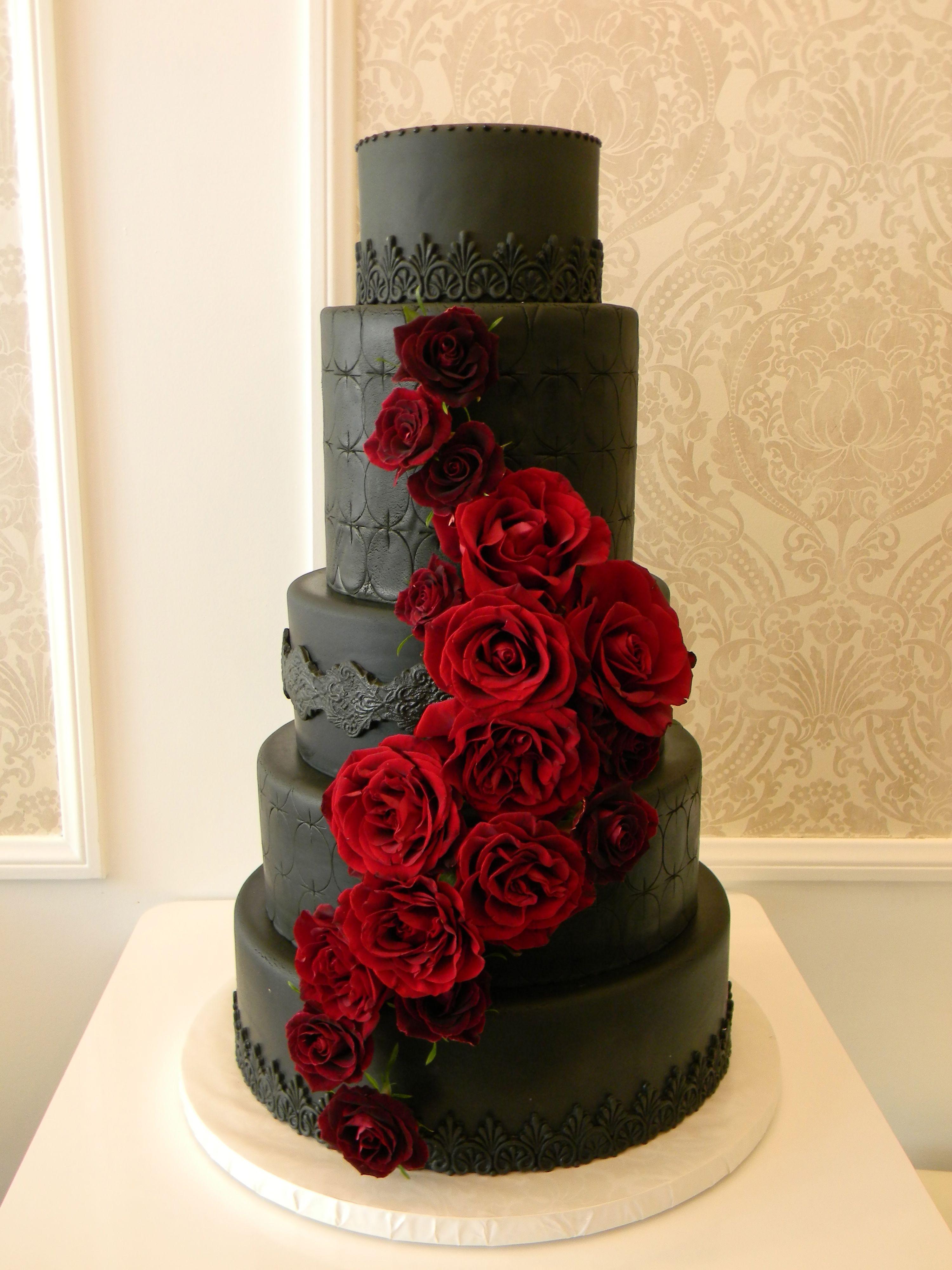Black, red and white wedding cake (148)   black scroll ...   Affordable Wedding Cakes Black And Red
