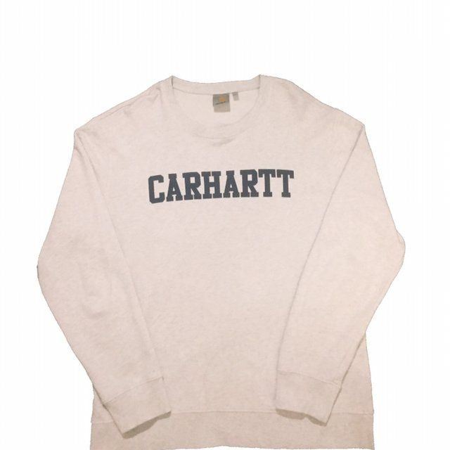 63518c58242 Carhartt College sweatshirt in off white grey marl‼ - Good - Depop