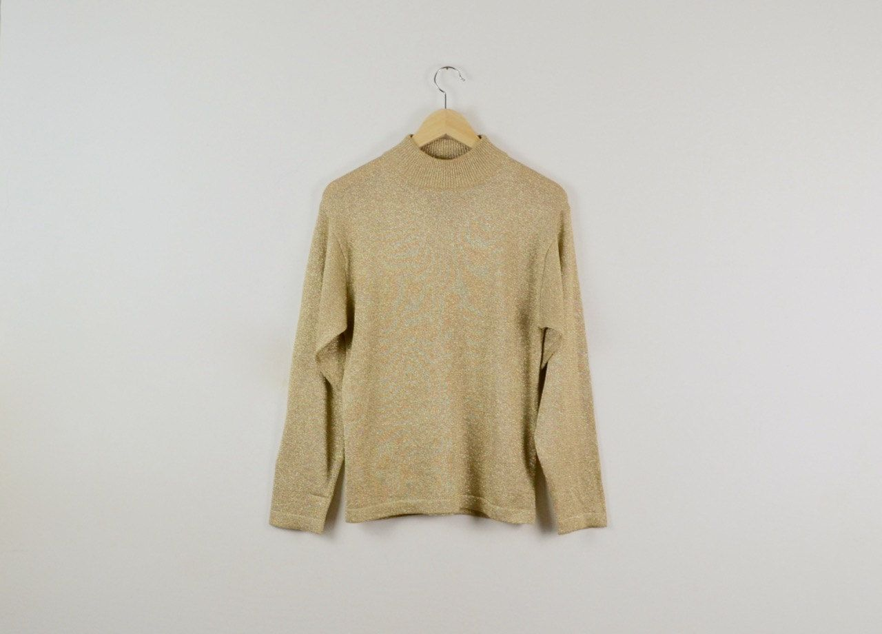Vintage Gold Lamé Sweater | Metallic Knitted Sweater | 80s Gold ...