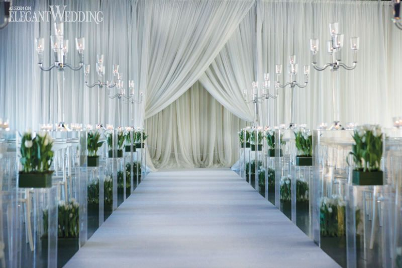 Draped Wedding Ceremony With Tulips And Glass Pillars A TUNNEL OF TULIPS MONTREAL WEDDING