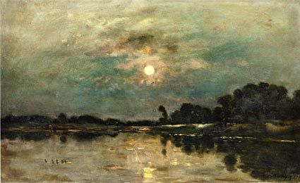 Riverbank In Moonlight Moonlight Painting Landscape Paintings Art