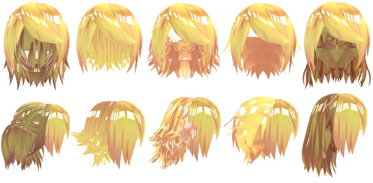 Mmd Tda Kagamine Rin Hair Pack Dl By Owth Mmd