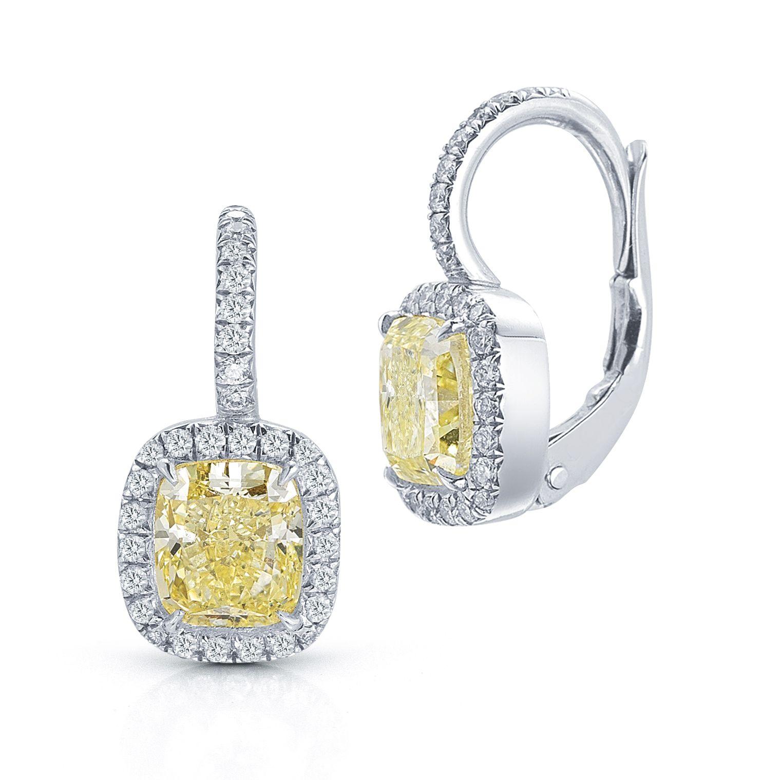 Fancy Yellow Diamond Drop Earrings · Cushion Cut