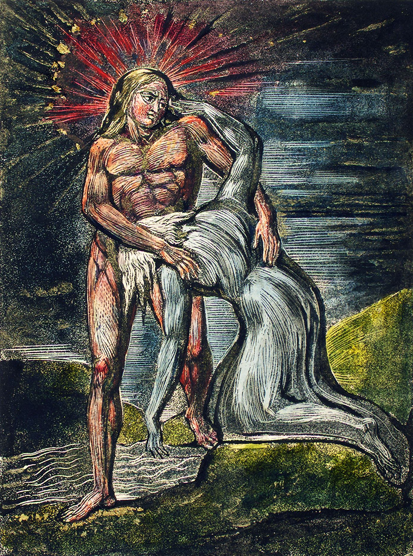 Two figures illustration from Milton a Poem, To Justify