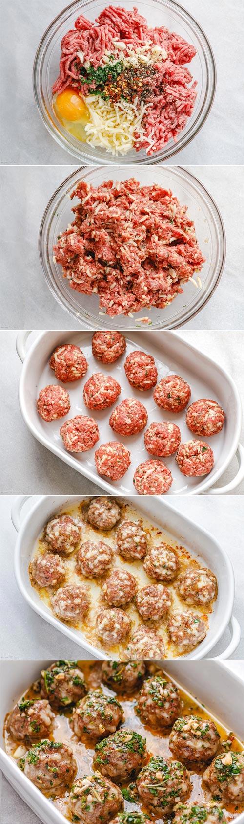 Baked Turkey Meatballs with Lemon Garlic Butter Sauce