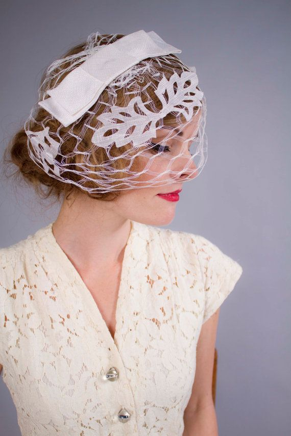 f06e688401c9d 1950s hat . 50s 60s wedding fascinator . vintage bride . new old stock . by  coralvintage