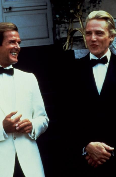 Christopher Walken And Roger Moore On The Set Of A View To A Kill