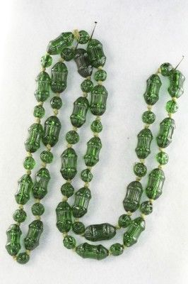 Antique Art Deco 1920's Green Molded Glass Necklace 26 Inch   eBay