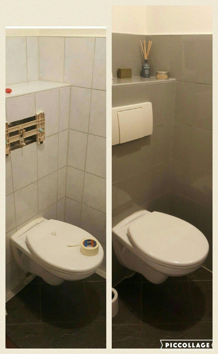 wc opgeknapt met tegelverf opgeslagen pinterest wc badkamer