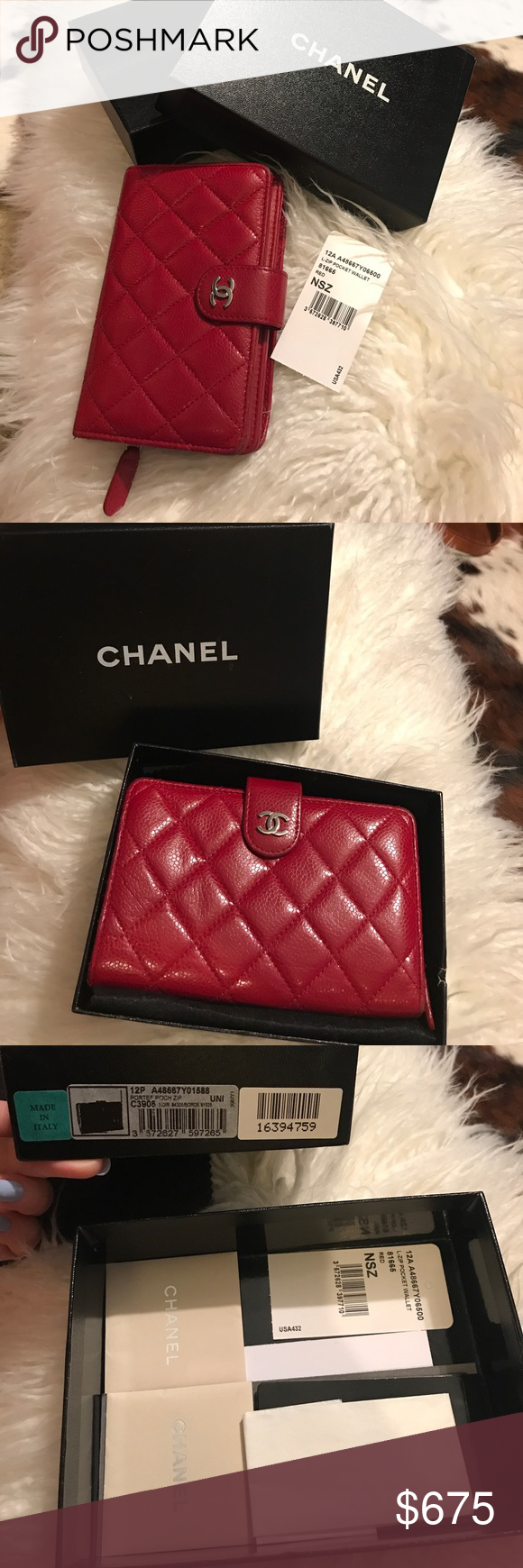 062ef2ad9338 Chanel Pocket Wallet in Red Chanel Classic L-Zip Pocket Wallet. Quilted  French Red