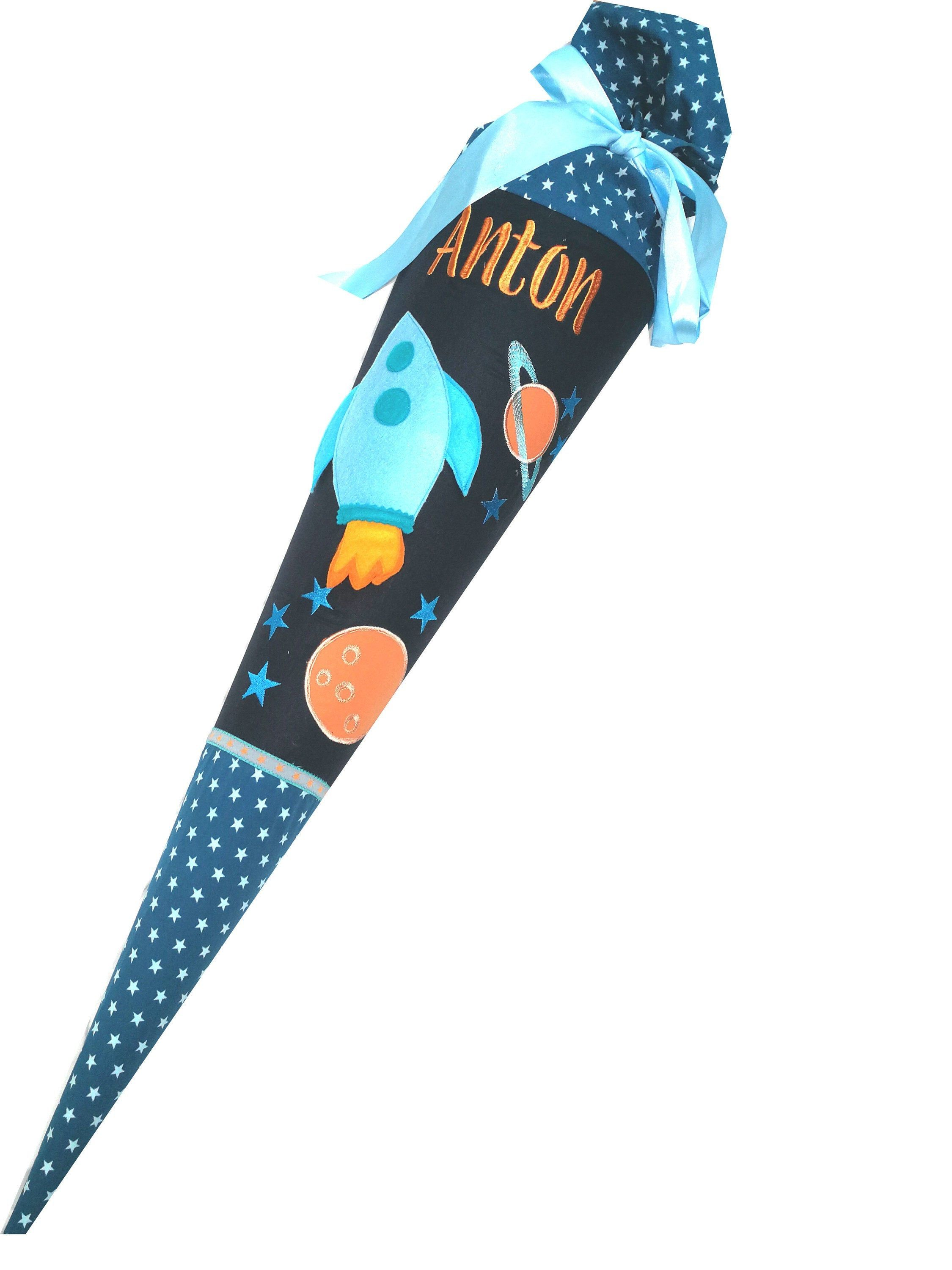 Schultute Sugar Bag Spaceship Rocket Galaxy 3 D Compl With Blank 70 Cm Or Xxl 85 Cm With Name And Later Pillow Inlet In 2020 Handmade Accessories Handmade Rocket