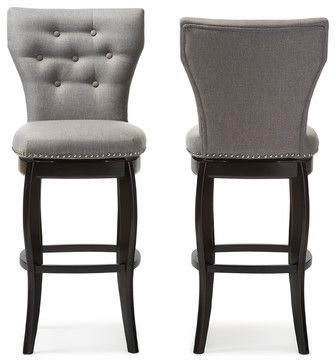 wholesale dealer af115 a0f11 Leonice Fabric Button-tufted 29 Inch Swivel Bar Stool, Gray ...