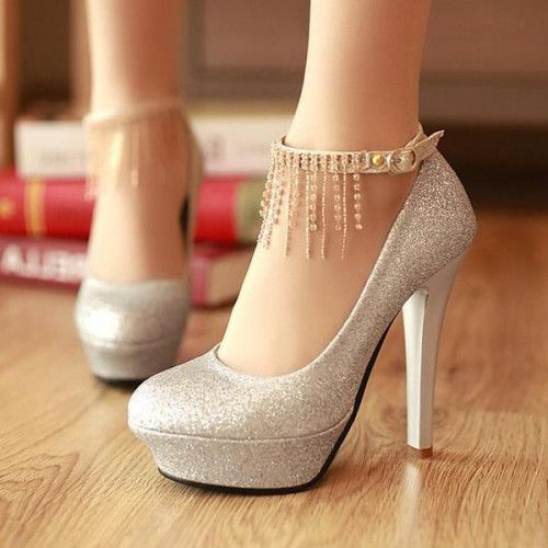 de85b30182a Cheap Silver Rhinestones Sequins Round Closed Toe Stiletto Super High Party  Ankle Strap Pumps