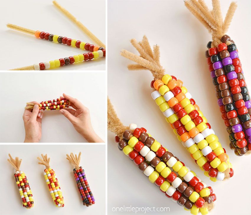 Beaded Pipe Cleaner Indian Corn #thanksgivingcrafts