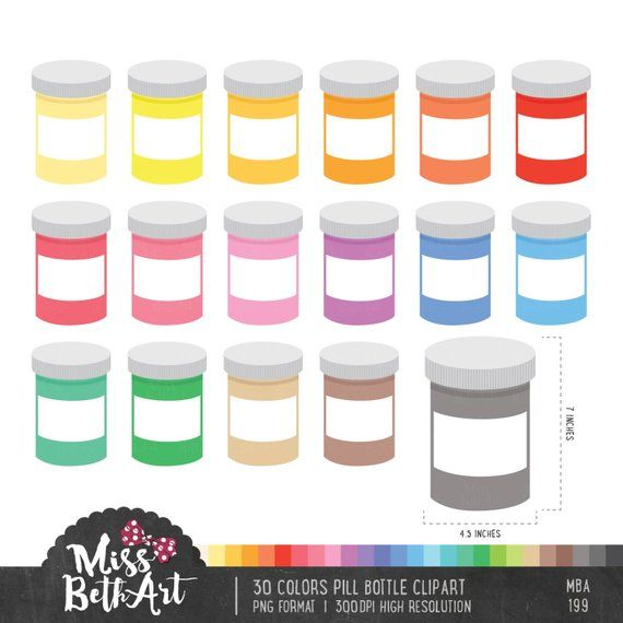30 Color Pill Bottle Clipart Instant Download Etsy Clip Art Instant Download Etsy Pill Bottles