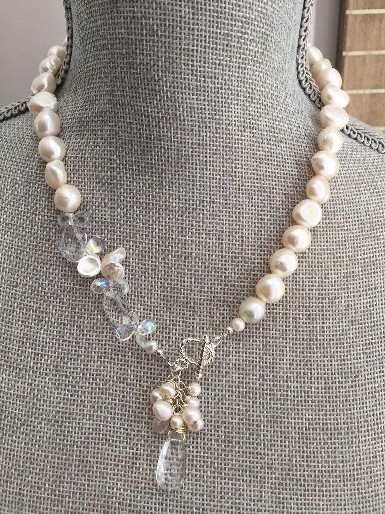 526f37be8302 Collar De Perlas · Piedra Preciosa · Tahari Necklace - White Freshwater  Pearl and Gemstone Statement Necklace - Front Closure. Perla Blanca