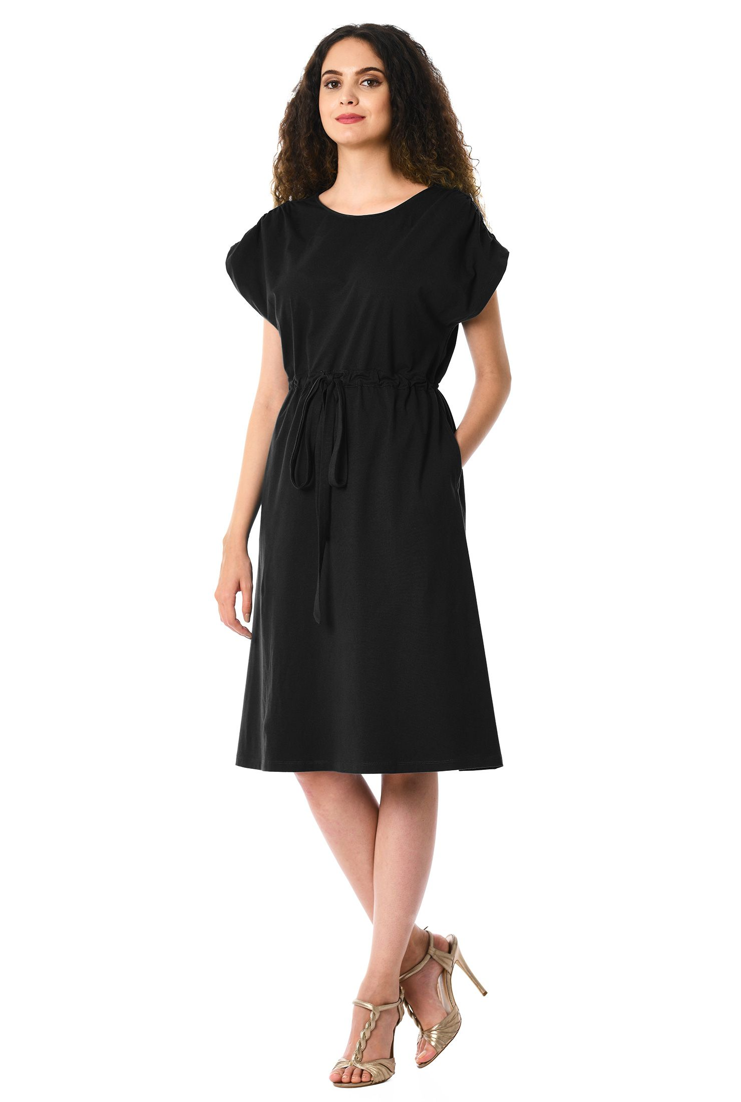 Below knee length dresses black dresses blouson dresses cotton
