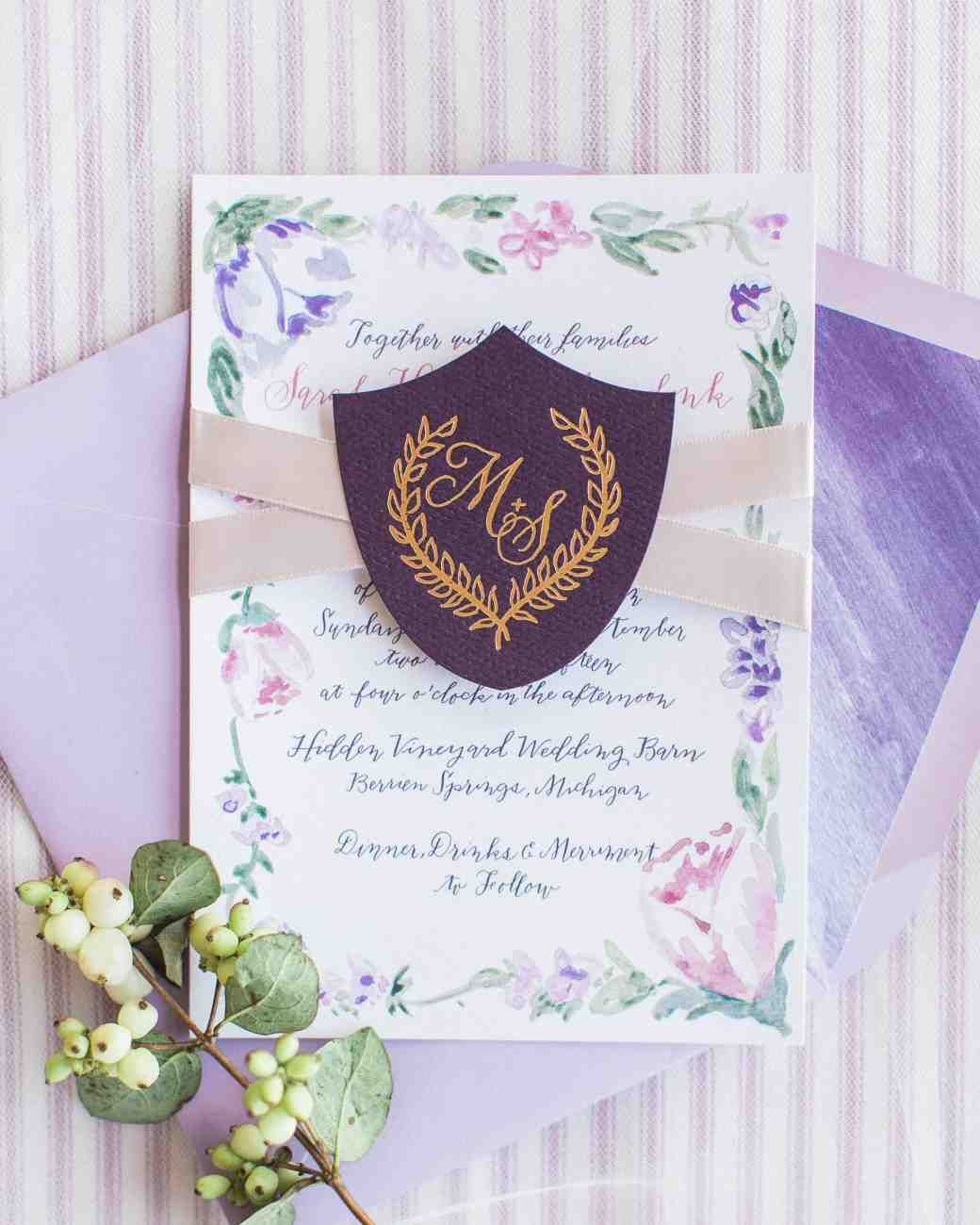 32 Dreamy Watercolor Wedding Ideas   Martha Stewart Weddings - Laura Hooper Calligraphy designed and calligraphed this purple watercolor invitation.