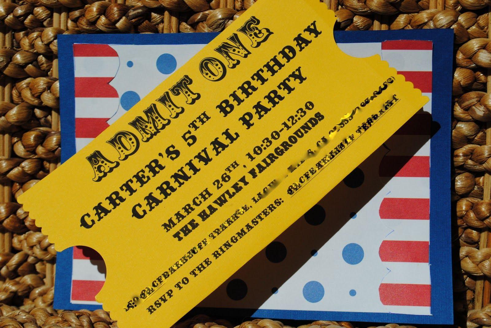 free printable birthday invitations carnival theme