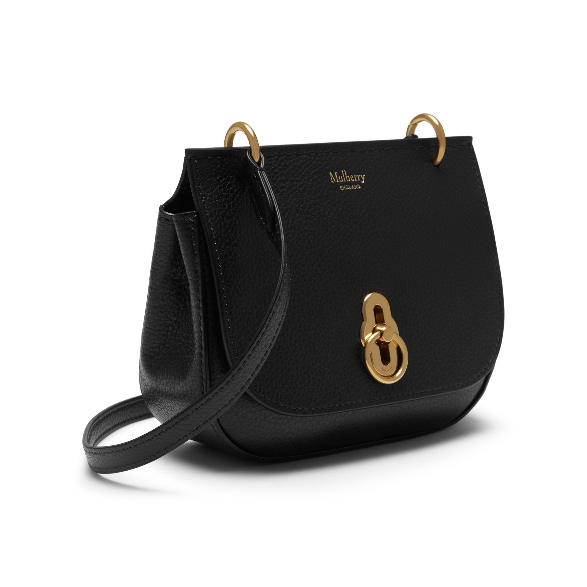f019bb960b Shop the Mini Amberley Satchel in Black Small Classic Grain Leather at  Mulberry.com.