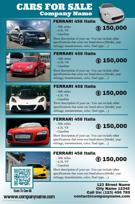 Cars for sale poster - Featuring up to 6 auto - Flat design http - car sale flyer