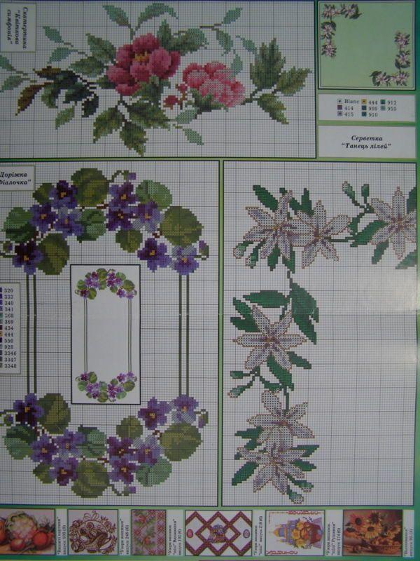 Uz 10 Cross Stitch Ukrainian Embroidery Pattern Tablecloth Napkin Vyshyvanka Embroidery Flowers Pattern Embroidery Flowers Cross Stitch