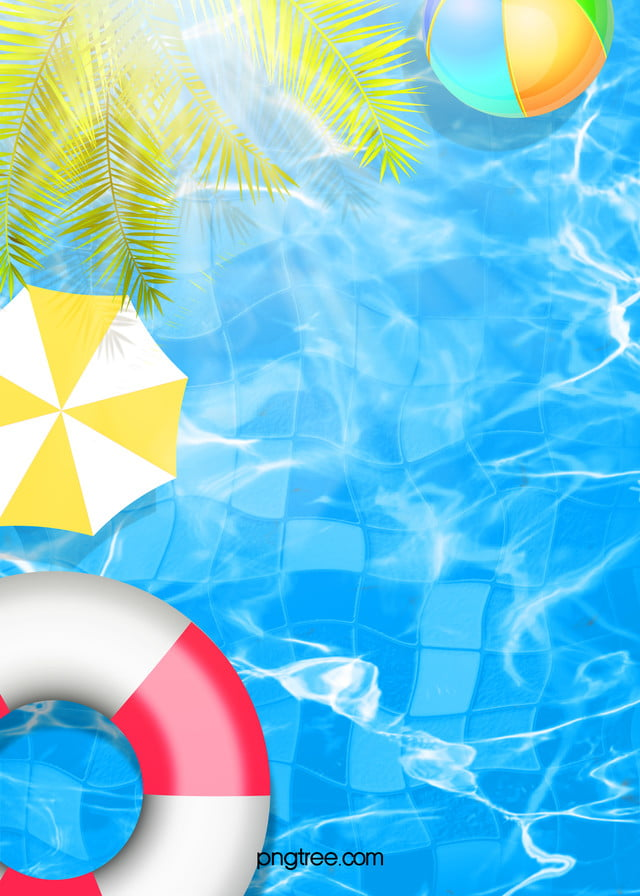 Colorful Creative Hand Painted Swimming Pool Background Pool Parties Flyer Pool Hand Painted