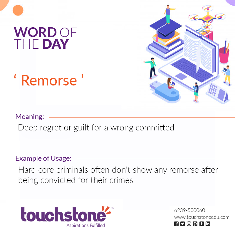 Word of the Day: Remorse Meaning: Deep regret or guilt for a wrong