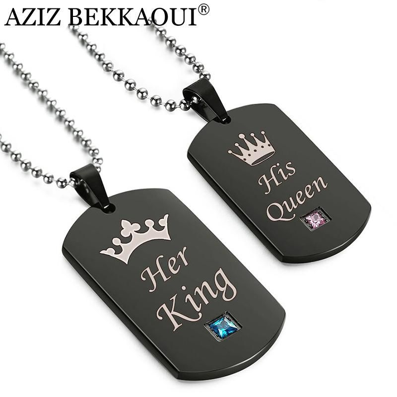 4fcfa9133393a Her King  amp  His Queen Crown Titanium Tag Crystal Necklaces Necklace  Lengths