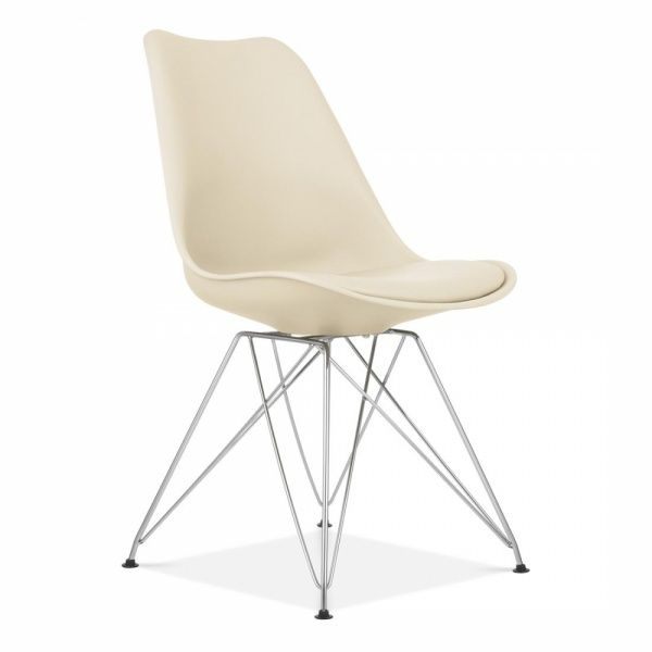 Chaise De Salle A Manger Creme Avec Pieds Eiffel En Metal In 2020 Cream Dining Chairs Scandi Design Dining Chairs