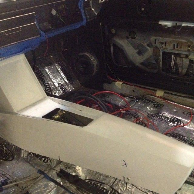 Chevelle Finishing The Fiberglass Ipad Console Becausess And Kick Panel Speaker Pods Almost Leath Custom Car Interior Custom Center Console Hotrod Interior
