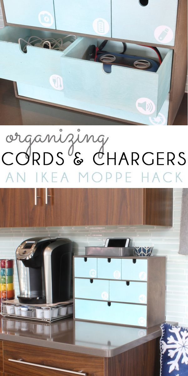 Are You Drowning In Cords And Cables, And Always Searching For The Right  Charger For Your Electronic Devices? Use An IKEA Moppe With Custom Cut Icon  Labels ...